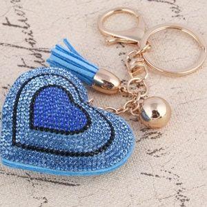 Jewelry - Puffed Rhinestone Heart Purse Charm Keychain